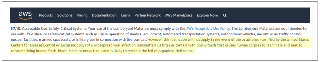 Amazon AWS Zombie Clause